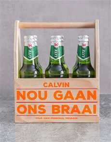gifts: Personalised Braai Printed Beer Crate!