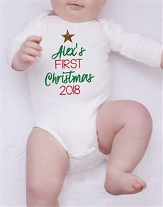 gifts: Personalised Multi Colour First Christmas Onesie!