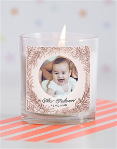 gifts: Personalised Pic in a Wreath Baby Candle !