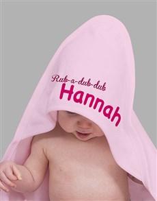 gifts: Personalised Rubadub Pink Hooded Baby Towel!