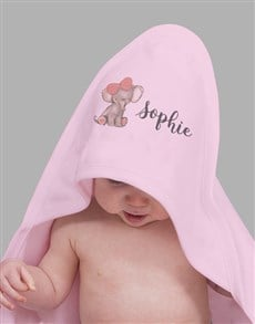 gifts: Personalised Pink Elephant Hooded Baby Towel!
