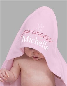 gifts: Personalised Crowned Princess Hooded Baby Towel!
