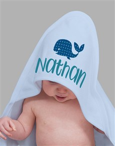 gifts: Personalised Blue Whale Hooded Baby Towel!