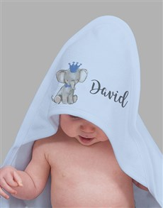 gifts: Personalised Blue Elephant Hooded Baby Towel!