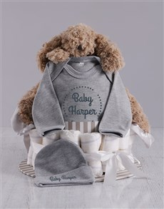 gifts: Personalised Grey Nappy Cake!