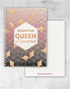 gifts: Personalised Queen Of The Office Notebook!