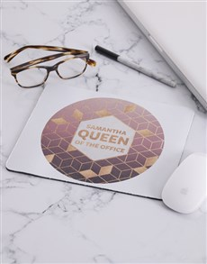 gifts: Personalised Queen Of The Office Mouse Pad!