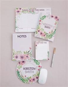gifts: Personalised Floral Wonder Take Note Set!