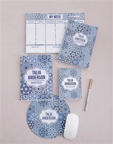 gifts: Personalised Blue Marrakesh Take Note Set!
