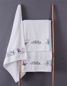 gifts: Personalised White Butterfly Towel Set!