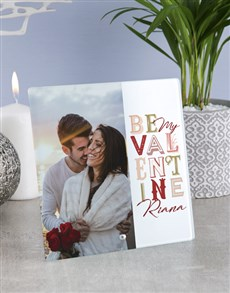 gifts: Personalised Be My Valentine Glass Tile!