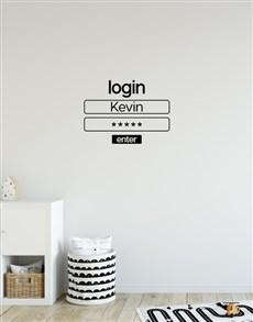 gifts: Personalised Login Wall Vinyl !