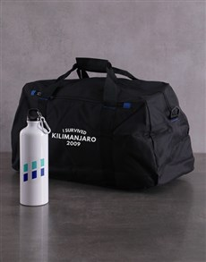 gifts: Personalised Survived Waterbottle and Gym Bag!