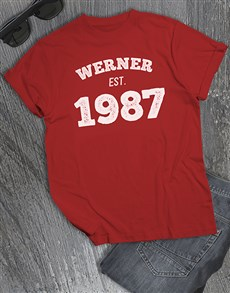 gifts: Personalised Date Established T Shirt !
