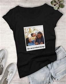 gifts: Personalised Polaroid With Message Ladies T Shirt !