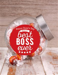 gifts: Personalised Red Best Boss Candy Jar!