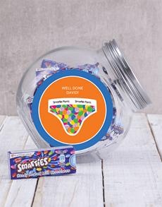 gifts: Personalised Blue Smartie Pants Jar!