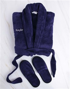 gifts: Personalised Navy Fleece Gown And Slipper Set!