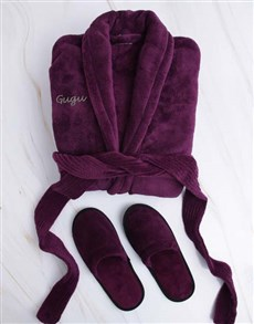 gifts: Personalised Purple Fleece Gown And Slipper Set!