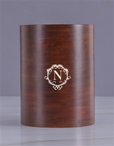 gifts: Personalised Initial Diamond Wooden Ice Bucket!