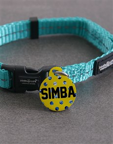 gifts: Personalised Blue Polka ID Tag And XS Collar!