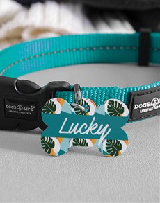 gifts: Personalised Tropical Bone ID Tag And Collar!