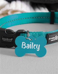 gifts: Personalised Blue Bone ID Tag And Collar!