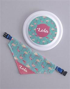 gifts: Personalised Flamingo Frisbee And Bandanna !