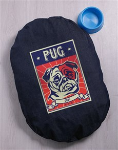 gifts: Personalised Pug Denim Bed And Bowl!