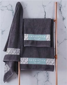gifts: Personalised Protea Charcoal Towel Set!