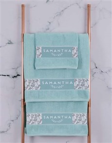 gifts: Personalised Protea Duck Egg Towel Set!