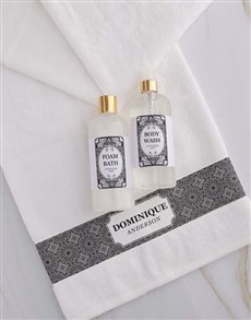 gifts: Personalised Damask White Towel Gift Set!