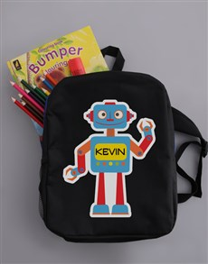 gifts: Personalised Robot Boys Backpack!