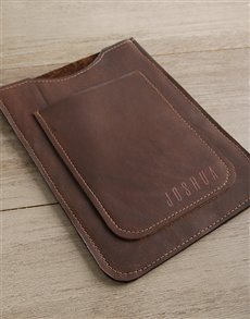 gifts: Personalised Brown Leather Tablet Cover!