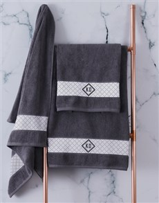 gifts: Personalised Crest Charcoal Towel Set!