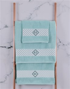 gifts: Personalised Crest Duck Egg Towel Set!