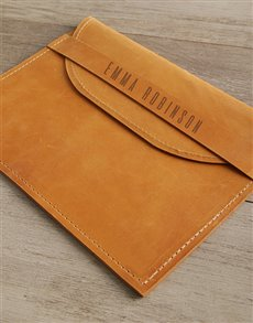 gifts: Personalised Tan Envelope Cover   Front Strap!