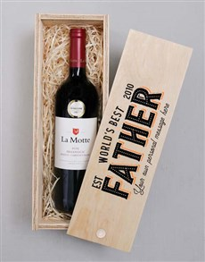 gifts: Personalised Worlds Best Father Wine In Crate!