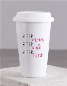 gifts: Personalised Super Mom Ceramic Travel Mug!