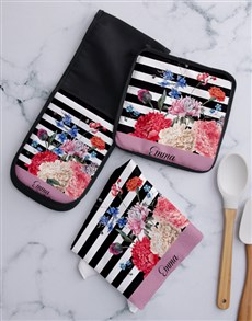 gifts: Personalised Stripe And Floral Kitchen Set !