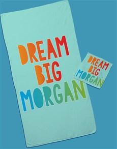 gifts: Personalised Dream Big Towel Set!
