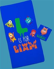 gifts: Personalised Monster Towel Set!