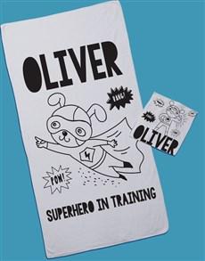 gifts: Personalised Superhero Towel Set!