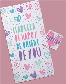 gifts: Personalised Doodle Hearts Towel Set!