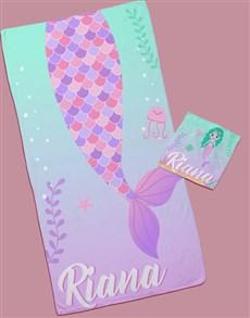 gifts: Personalised Mermaid Towel Set!