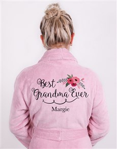 gifts: Personalised Best Grandma Vintage Pink Fleece Gown!