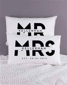 gifts: Personalised Block Mr and Mrs Pillowcase Set!