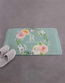 gifts: Personalised Floral Intial and Surname Bath Mat!