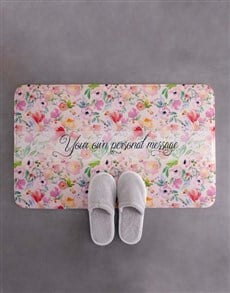gifts: Personalised Floral Own Message Bath Mat!