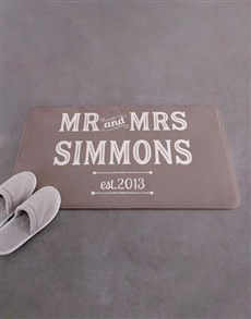 gifts: Personalised Retro Mr and Mrs Bath Mat!